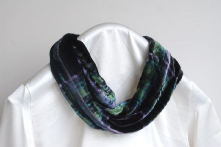 Ladycrow  Tartan Silk Velvet Infinity Scarf, Black and Green